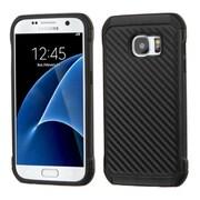 Insten Carbon Fiber Hard Hybrid Silicone Case For Samsung Galaxy S7 - Black (2208122)