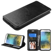 Insten Folio Leather Fabric Case w/stand/card slot/Photo Display/Diamond For Samsung Galaxy E5 - Black (2208279)