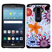 Insten Flower Buds Hard Hybrid Rubber Coated Silicone Case For LG G Stylo/G Vista 2 - Orange/White (2212067)
