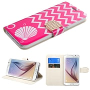Insten Shell Book-Style Leather Fabric Case w/stand/card holder/Diamond For Samsung Galaxy S6 - Hot Pink/White (2099591)