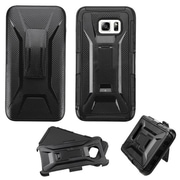 Insten Hard Hybrid Rugged Shockproof Plastic Silicone Case w/Holster For Samsung Galaxy S6 Edge Plus - Black (2135056)