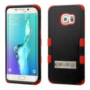 Insten Hard Dual Layer Rubber Coated Silicone Cover Case w/stand For Samsung Galaxy S6 Edge Plus - Black/Red (2141688)