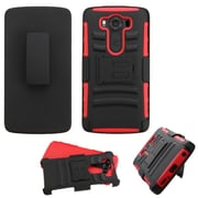 Insten Hard Hybrid Plastic Silicone Case w/Holster For LG V10 - Black/Red (2177721)