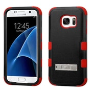 Insten Hard Dual Layer Rubber Coated Silicone Case w/stand For Samsung Galaxy S7 - Black/Red (2195472)