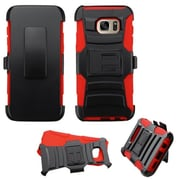 Insten Hard Dual Layer Plastic Silicone Cover Case w/Holster For Samsung Galaxy S7 Edge - Black/Red (2195566)
