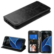 Insten Folio Wallet Leather Case with Card slot holder Stand For Samsung Galaxy S7 Edge - Black (2197677)