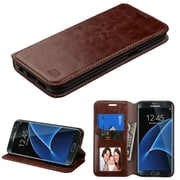 Insten Folio Wallet Leather Case with Card slot holder Stand For Samsung Galaxy S7 Edge - Brown (2197678)
