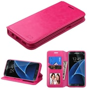 Insten Flip Wallet Leather Cover Case with Stand/Card Holder/Photo Display For Samsung Galaxy S7 Edge - Hot Pink (2197679)