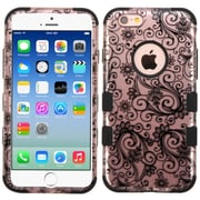 Insten Tuff Four-leaf Clover Hard Hybrid Rubberized Silicone Cover Case For Apple iPhone 6/6s - Black (2177668)