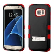 Insten Hard Dual Layer Rubberized Silicone Case w/stand For Samsung Galaxy S7 Edge - Black/Red (2208035)