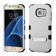 Insten Hard Hybrid Rubberized Silicone Cover Case w/stand For Samsung Galaxy S7 Edge - Gray/Black (2208036)