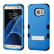 Insten Hard Hybrid Rubberized Silicone Cover Case w/stand For Samsung Galaxy S7 Edge - Blue/Black (2208039)