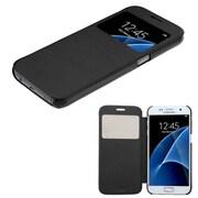 Insten Folio Leather Fabric Case For Samsung Galaxy S7 - Black (2208272)