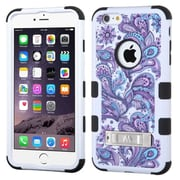 Insten Tuff Flowers Hard Dual Layer Rubber Silicone Case w/stand For Apple iPhone 6 Plus - White/Purple (2002808)