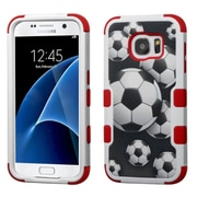 Insten Tuff Soccer Ball Collage Hard Dual Layer Rubberized Silicone Case For Samsung Galaxy S7 - Black/Red (2211233)
