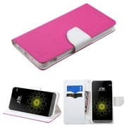 Insten Leather Wallet Stand Case with Card slot holder For LG G5 - Hot Pink/White (2211401)