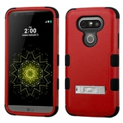 Insten Hard Hybrid Rubberized Silicone Cover Case with stand For LG G5 - Red/Black (2229041)