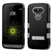 Insten Hard Dual Layer Rubberized Silicone Cover Case with stand For LG G5 - Black/Gray (2229042)