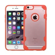 Insten Transparent Crystal Back Panel Case with TPU Shock Absorbing Bumper For iPhone 6s Plus / 6 Plus - Clear/Orange (2185472)