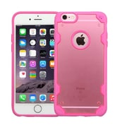 Insten Crystal Clear Panel Cover with TPU Bumper Shockproof Case For iPhone 6S Plus / 6 Plus - Rose Gold/Hot Pink (2185474)