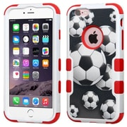 Insten Tuff Soccer Ball Collage Hard Dual Layer Rubber Coated Silicone Case For Apple iPhone 6 Plus/6s Plus, Black/Red (2195369)