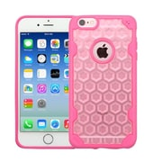 Insten Honeycomb Hard Rubberized Silicone Cover Case For Apple iPhone 6/6s - Rose Gold/Hot Pink (2205129)