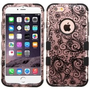 Insten Tuff Four-leaf Clover Hard Hybrid Rubber Coated Silicone Cover Case For Apple iPhone 6 Plus/6s Plus - Black (2177659)