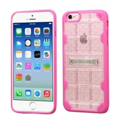 Insten Hard Crystal TPU Cover Case w/stand For Apple iPhone 6/6s - Clear/Hot Pink (2192775)