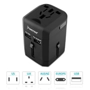 Insten Worldwide Travel Power Adapter with Built-in Dual Port USB Charger 2.5A International (US UK EU AU China) Black (2194639)