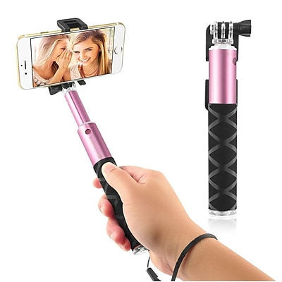 Insten Selfie Stick Portable Pocket-Size Extendable Handheld Monopod Holder Self-Portrait Universal - Pink (2194314)