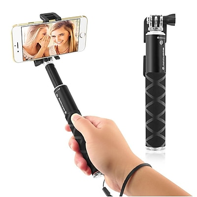 Insten Selfie Stick Portable Pocket-Size Extendable Handheld Monopod Holder Self-Portrait Universal - Black (2194316)