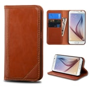 Insten Flip Leather Fabric Cover Case w/stand/card slot For Samsung Galaxy S6 - Brown (2102268)