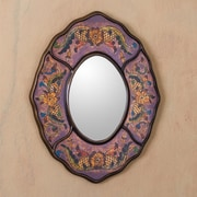 Novica Lilac Colonial Wreath Reverse Painted Glass Wall Mirror