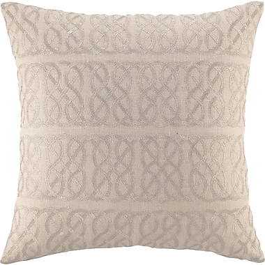 D.L. Rhein Embroidered Nautical Knot Linen Throw Pillow; Metallic Silver