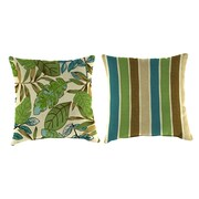 Jordan Manufacturing Reversible Outdoor Throw Pillow; Marley Emerald / Chino Stripe Emerald