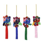 Novica 4 Piece Happy Thai Cats and Bells Hand Crafted Ornament Set