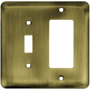 Franklin Brass Stamped Steel Round Single Switch/Decorator Wall Plate; Antique Brass