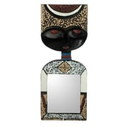 Novica Handsome Man Handcrafted Crowned w/ an African Mask Wall Mirror