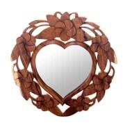 Novica Frangipani Heart-Shaped Hand Carved Wood Wall Mirror; Brown
