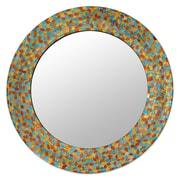 Novica Shimmering Leaves Glass Mosaic Circular Wall Mirror
