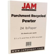 "JAM Paper® 8 1/2"" x 11"" Parchment Paper, Pewter Grey Parchment, 24lb Recycled, 50/Pack (171118A)"