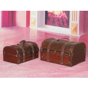 Quickway Imports Decorative 2 Piece Wood Treasure Box Set