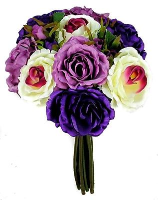 AdmiredbyNature 11 Stems Artificial Rose Bouquet; Violet