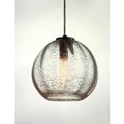 Viz Glass Vintage 1 Light Globe Pendant; Satin Nickel