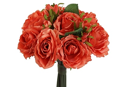 AdmiredbyNature 11 Stems Artificial Rose Bouquet; Salmon