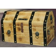 Quickway Imports Large Wooden Pirate Lockable Trunk w/ Lion Rings