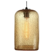 Viz Glass Vintage 1 Light Pendant; Amber