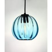 Viz Glass Vintage 1 Light Globe Pendant; Aqua
