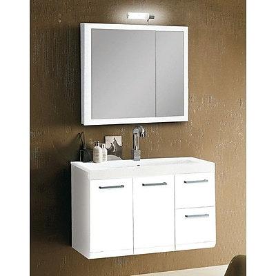 Iotti by Nameeks Linear 38'' Single Wall Mounted Bathroom Vanity Set with Mirror; Glossy White