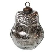 White x White Mercury Glass Owl Ornament (Set of 4)